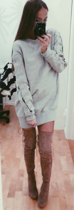 Oversized sweater and over the knee boots.   Christina Kovac #oversized