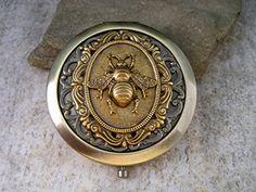 Handmade Victorian Bronze Bee Steampunk Compact Mirror. #steampunk #Statue  #victorian #figurine #gosstudio .★ We recommend Gift Shop: http://www.zazzle.com/vintagestylestudio ★