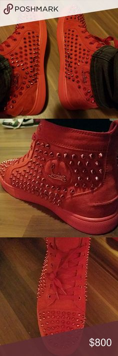 Christian louboutin red spike Worn 2 times. Still brand new looking. Comes with extra studs, and original box with dust bags. Christian Louboutin Shoes Sneakers