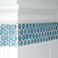 Ann Sacks Cornflower Blue Penny Tile With Platinum Grout