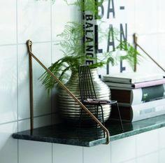 House Doctor Green Marble Shelf With Brass Brackets - Trouva Shelf Supports, Shelves, Interior, Marble Shelf, Home, Wall Shelves, House Doctor, Interior Details, Shelf Brackets