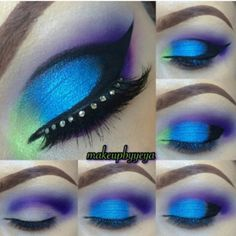 Paradise bird blue, purple, green makeup #tutorial #evatornadoblog