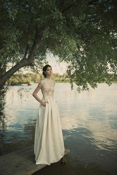Vered Vaknin, wedding dress, bridal gown with pockets, lace top