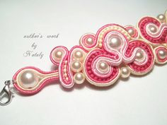 FREE SHIPPING OOAK Soutache Jewelry  Bracelet With Czech Glass Beads And Pearl Beads via Etsy