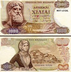 Greece, 1000 Drachma note ,old 1970 one. Zeus on the front, Hydra Is . Old Greek, Greek History, Greek Culture, Old Money, World Coins, Athens Greece, My Memory, Archaeology, Vintage Posters