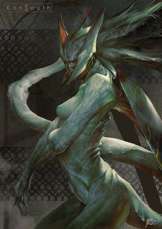 The Creature by TheRafa Monster Design, Monster Art, Alien Creatures, Fantasy Creatures, Female Monster, Hybrid Art, Design Art Drawing, Beast Creature, Alien Design