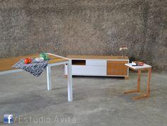 Mesa de comedor Ulm + Mueble bajo Assen + Mesa de Arrime Oslo www.facebook.com/Estudio.Avita