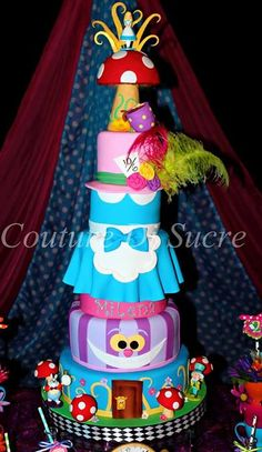 6 Tier Alice in Wonderland Cake with Dress, Chesire Cat, Mad Hatters Hat & Mushrooms (Milana)