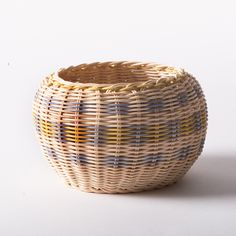 Blue & Yellow Cherokee Double-wall Basket - Native American Art - National Cowboy Museum