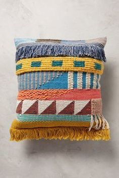 Anthropologie Hand-Embroidered Kala Pillow; $128. This would be adorable on a recovered RV bench or sofa! #anthrofave: