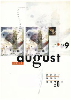 August (1990 4AD Calendar) Design by Vaughan Oliver & Shinro Ohtake