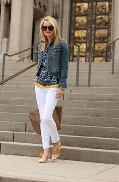 Jacket: Levis. Denim: Zara. Gingham Top: Old Navy. Sweater: Jcrew. Shoes: Tory Burch. Purse: Celine.