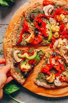 DELICIOUS Vegan Gluten-Free Cauliflower Pizza Crust! 9 ingredients, simple methods, crispy crust + tender center! #vegan #glutenfree #plantbased #pizza #cauliflower #minimalistbaker #recipe