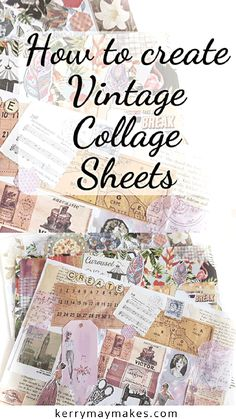 collage board How to create vintage collage sheets and master boards using ephemera to scan and print and to create tear apart sheets. Journal Pages, Junk Journal, Journal Ideas, Journal Inspiration, Bullet Journal, Journal Diary, Journal Prompts, Handmade Journals, Vintage Journals