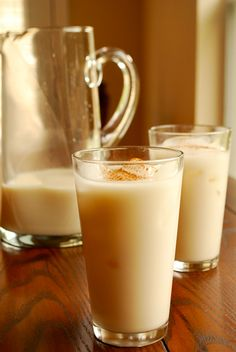 Horchata - Mexican version made with rice.  Simple recipe, with wonderful photos.  Easy to make and sounds like it will be a delicious recipe.  I like some of the suggestions to add condensed milk instead of regular milk!