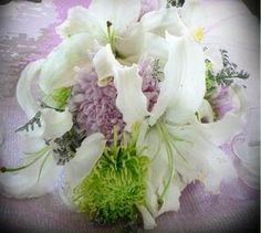 Green Spider mums, Lavendar Cushion Mums, White Asiatic Lily