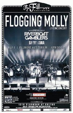 Original concert poster for Flogging Molly at The Fillmore Auditorium in Denver, CO in 2010. 11x17 on thin paper.