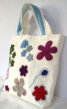 Spring Summer tote / Canvas white appliqued with by Apopsis Celebrating 100 sales on ETSY and I coordially offer a off, starting now and for a very limited time. Sacs Tote Bags, Canvas Tote Bags, Patchwork Bags, Quilted Bag, Bag Sewing, Tote Bags Handmade, Diy Bags, Hand Applique, Applique Patterns