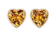 Pendientes de oro rosa con citrinos talla corazón de Suárez. Para más información: www.joyeriasuarez.com