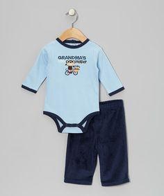 Blue 'Grandma's Little Helper' Bodysuit & Pants - Infant #zulily #zulilyfinds