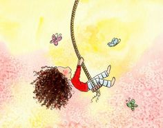Brunette Girl Swinging and Butterflies  by TheExtentofSilence, $18.00