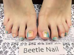 Nail Art - Beetle Nail : 八日市arte|西海岸風カラー♡   #ネイル #アルテビートルネイル #ビートルネイル #ネイル東近江市 #フットネイル