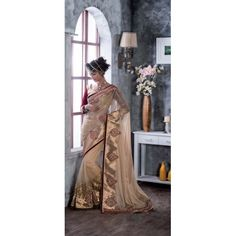 Buy Online Designer Sarees, shari, Ethnic sarees, Beige Color, Net Material, Saree, sari, partywear, kitty party wear, wedding wear for women. We have large range of Designer Net Sarees in our website with the best pricing and unique designs shipping to (UK, USA, India, Germany, UAE, Canada, Singapore, Australia, Mauritius, New Zealand) world wide.