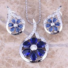 Fantastic Blue  Cubic Zirconia White CZ 925 Sterling Silver  Earrings Pendant Necklace  Jewelry Sets S0790 #Affiliate