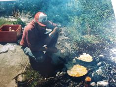 Bob Elders, the premier guide at White Pine Lodge prepares another amazing shore lunch!  1990