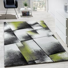 Designer Teppich Wohnzimmer Teppiche Kurzflor Meliert Grün Grau Creme  Schwarz Wohn Und Schlafbereich Designer Teppiche