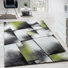 Designer Teppich Wohnzimmer Teppiche Kurzflor Meliert Grn Grau Creme Schwarz Wohn Und Schlafbereich