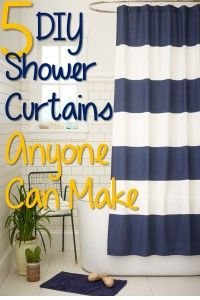 I like that the shower curtains are flat bed sheets.  Easy to wash and maintain. 5 DIY Shower Curtains Great for Beginning Sewers and Crafters