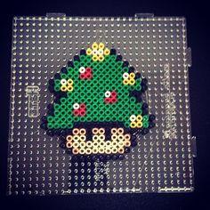 Nintendo mushroom Christmas tree perler beads by sajagee
