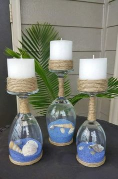 Seashell and Sand Wine Glass Candle Holder (Set of - Christmas Crafts Diy Wine Glass Candle Holder, Glass Candle Holders, Wine Glass Crafts, Wine Bottle Crafts, Wine Bottles, Seashell Crafts, Beach Crafts, Seashell Candles, Seashell Projects