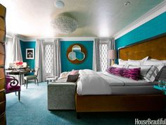 Bedroom Color Schemes plus bedroom colors 2018 plus wall colour combination for small bedroom Small Bedroom Colours, Bedroom Paint Colors, Paint Colours, Beautiful Bedroom Designs, Beautiful Bedrooms, House Beautiful, Beautiful Wall, Modern Bedroom, Master Bedroom