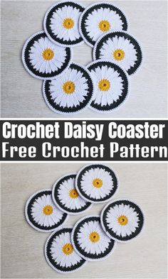 Crochet Coaster Patterns – All Free Patterns – All Crochet Pattern Crochet Sunflower, Crochet Daisy, Crochet Cactus, Crochet Leaves, Crochet Flowers, Doilies Crochet, Crochet Mat, Crochet Home, Crochet Gifts