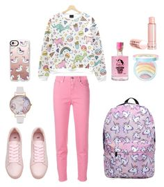 """""""unicorn2"""" by ferinapradana ❤ liked on Polyvore featuring Closed, Too Faced Cosmetics, Casetify and Olivia Burton"""