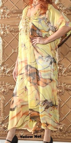 Ellie Mei Women's Long Printed Maxi Caftan Very Soft And Smooth Chiffon Dress Cover-Up  KHL-EM1001 Yellow