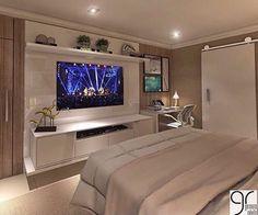 master room ideas New Ideas Bedroom Design Elegant Dream Rooms Bedroom Tv Stand, Bedroom Tv Wall, Home Decor Bedroom, Bedroom Furniture, Bed Room, Wall Tv, Wall Mural, Bedroom With Tv, Bedroom Shelving