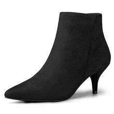 c163ae4b64 Allegra K Women's Pointed Toe Side Zip Stiletto Black Ankle Boots Christmas  Boots - 9 M US