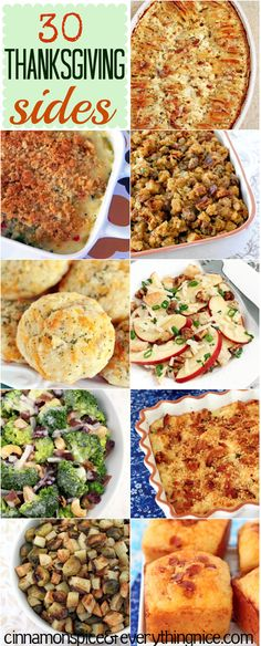 30 Thanksgiving Side Dishes Get the Recipe Here! Thanksgiving Dinner Recipes, Thanksgiving Side Dishes, Holiday Dinner, Holiday Recipes, Happy Thanksgiving, Holiday Meals, Side Dish Recipes, Dishes Recipes, Cooking Recipes