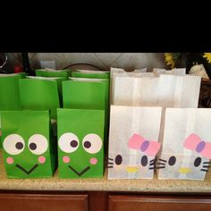 Candy bags for a Hello Kitty birthday party theme