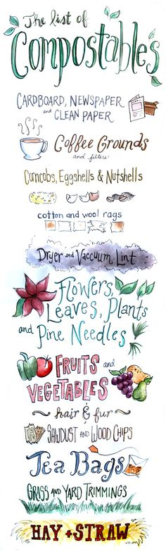 Compost Compatibles - Cute lettered guide to what can be composted. Great for a reminder taped to the indoor bin. Compost Compatibles - Cute lettered guide to what can be composted. Great for a reminder taped to the indoor bin. Organic Gardening, Gardening Tips, Kitchen Gardening, Vegetable Gardening, Organic Compost, Urban Gardening, Garden Compost, Garden Soil, Garden Beds