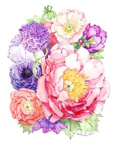 Watercolor Peony and Flowers - Art Print of Painting - by Heatherlee Chan | Lady Poppins | Use Code PIN10 for 10% off prints - $20.00 https://www.etsy.com/listing/175948549/watercolor-peony-and-flowers-print-of?ref=shop_home_active_3
