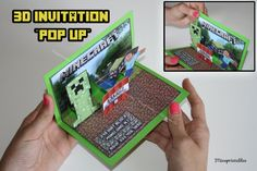 MINECRAFT 3D INVITATION Printable Pop Up by mineprintables