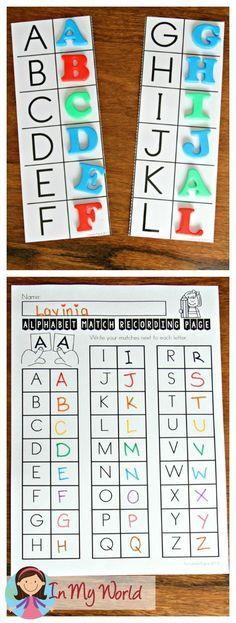 FREE Back to School Literacy Centers for Kindergarten. Alphabet matching activity.