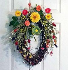 Summer Spring Grapevine Wreath, Front Door Wreath, Oval Wreath, Daisie | PataylaFloralDesigns - Housewares on ArtFire