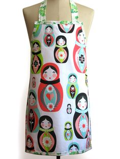Retro Tea Towel 'Babushka Russian Doll' Apron