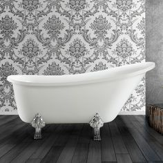Miseno 63 Freestanding Acrylic Soaking Clawfoot Tub with Reversible White Tub Soaking Freestanding Upstairs Bathrooms, Master Bathroom, Teen Girl Bedrooms, French Country Decorating, Clawfoot Bathtub, Interior Design Living Room, The Help, New Homes, Bathroom Ideas