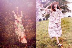 The model poses in embellished dresses for the fashion editorial